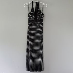 En Focus Black/White Polka Dot Maxi Dress